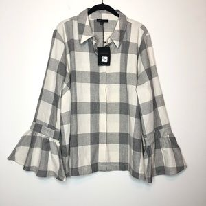 NWT Lane Bryant Plaid Bell Sleeve Button Down 20
